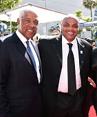 Retired NBA basketball players Julius 'Dr J' Erving and Charles Barkley attend the 2016 ESPYS at Microsoft Theater on July 13 2016 in Los Angeles...