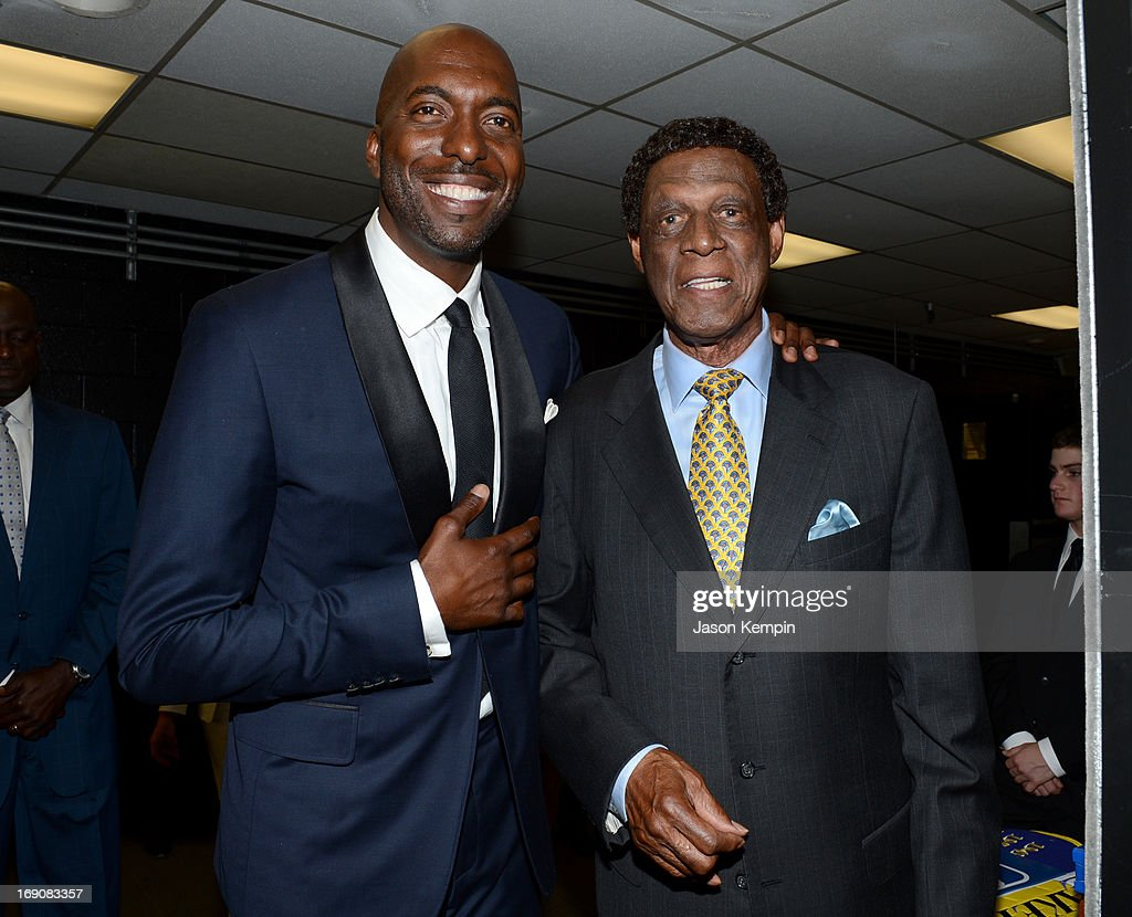 Retired NBA player and radio host John Salley and former pro basketball player Elgin Baylor attend the 28th Anniversary Sports Spectacular Gala at the Hyatt Regency Century Plaza on May 19, 2013 in Century City, California.