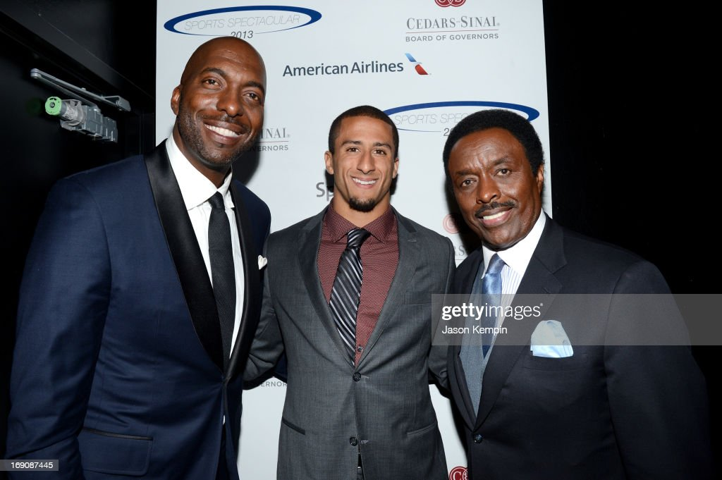 Retired NBA player and radio host John Salley, pro football player Colin Kaepernick and sportscaster Jim Hill attend the 28th Anniversary Sports Spectacular Gala at the Hyatt Regency Century Plaza on May 19, 2013 in Century City, California.