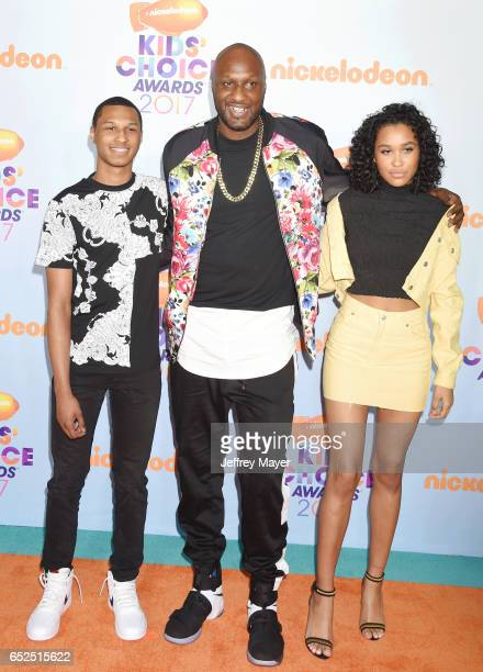 Retired NBA player Lamar Odom and guests arrive at the Nickelodeon's 2017 Kids' Choice Awards at USC Galen Center on March 11 2017 in Los Angeles...
