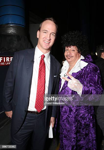 Retired NFL player Peyton Manning and comedian Jeffrey Ross attend The Comedy Central Roast of Rob Lowe at Sony Studios on August 27 2016 in Los...