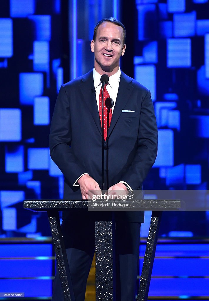 Retired NFL player Peyton Manning speaks onstage at The Comedy Central Roast of Rob Lowe at Sony Studios on August 27, 2016 in Los Angeles, California. The Comedy Central Roast of Rob Lowe will premiere on September 5, 2016 at 10:00 p.m. ET/PT.