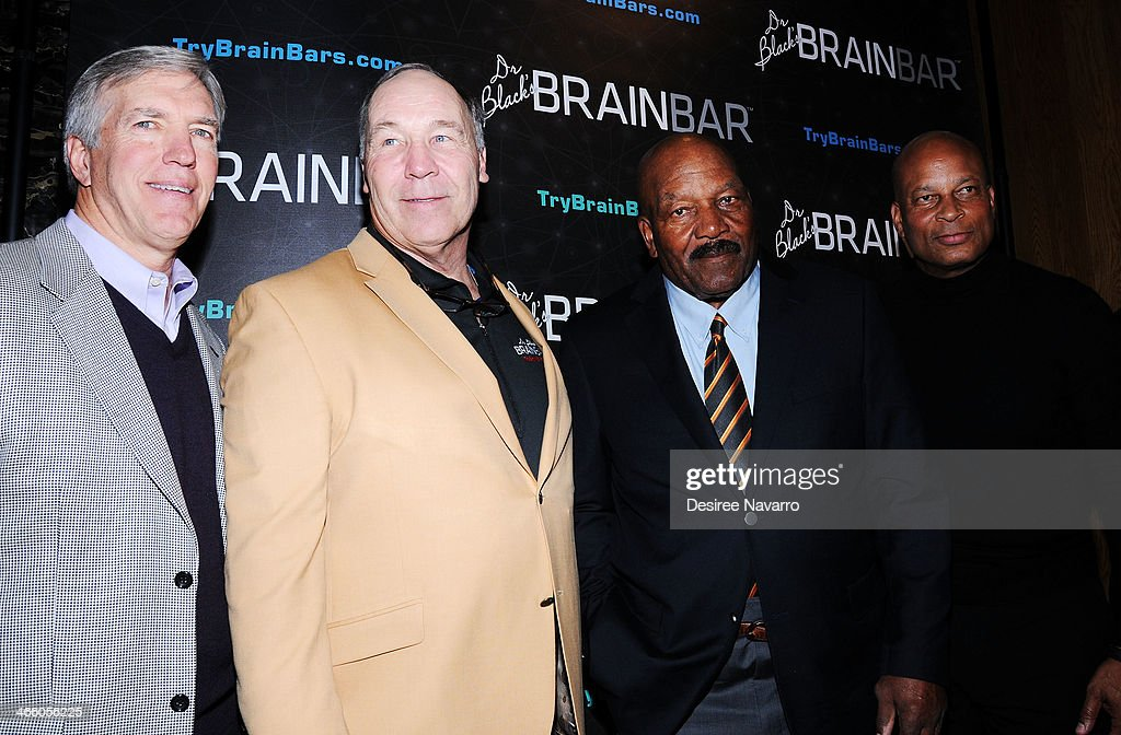 Retired NFL players Roger Wehrli, Joe DeLamielleure, <a gi-track='captionPersonalityLinkClicked' href=/galleries/search?phrase=Jim+Brown+-+Actor+and+American+Football+Fullback&family=editorial&specificpeople=215263 ng-click='$event.stopPropagation()'>Jim Brown</a> and <a gi-track='captionPersonalityLinkClicked' href=/galleries/search?phrase=Ronnie+Lott&family=editorial&specificpeople=224586 ng-click='$event.stopPropagation()'>Ronnie Lott</a> attend Dr. Black's Brain Bar Super Bowl XLVIII Launch Event at PH-D Rooftop Lounge at Dream Downtown on January 30, 2014 in New York City.