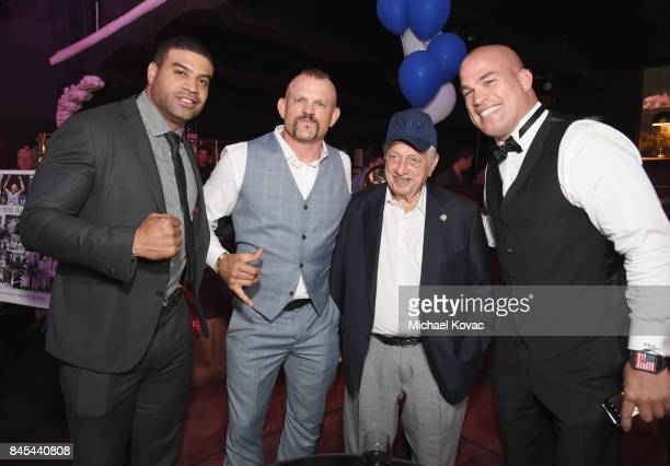 Retired NHL Shawn Merriman former UFC fighter Chuck Liddell naseball Hall of Famer Tommy Lasorda and MMA fighter Tito Ortiz at the Heroes for Heroes...