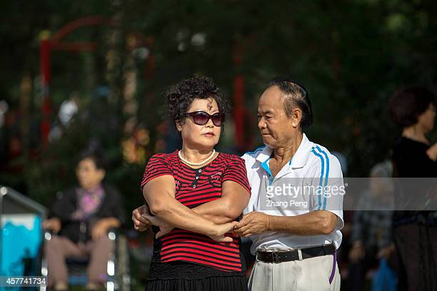 HA'ERBIN HEILONGJIANG CHINA Retired people dance on the street In China there are more than 200 million old people of over 60 years old at present...