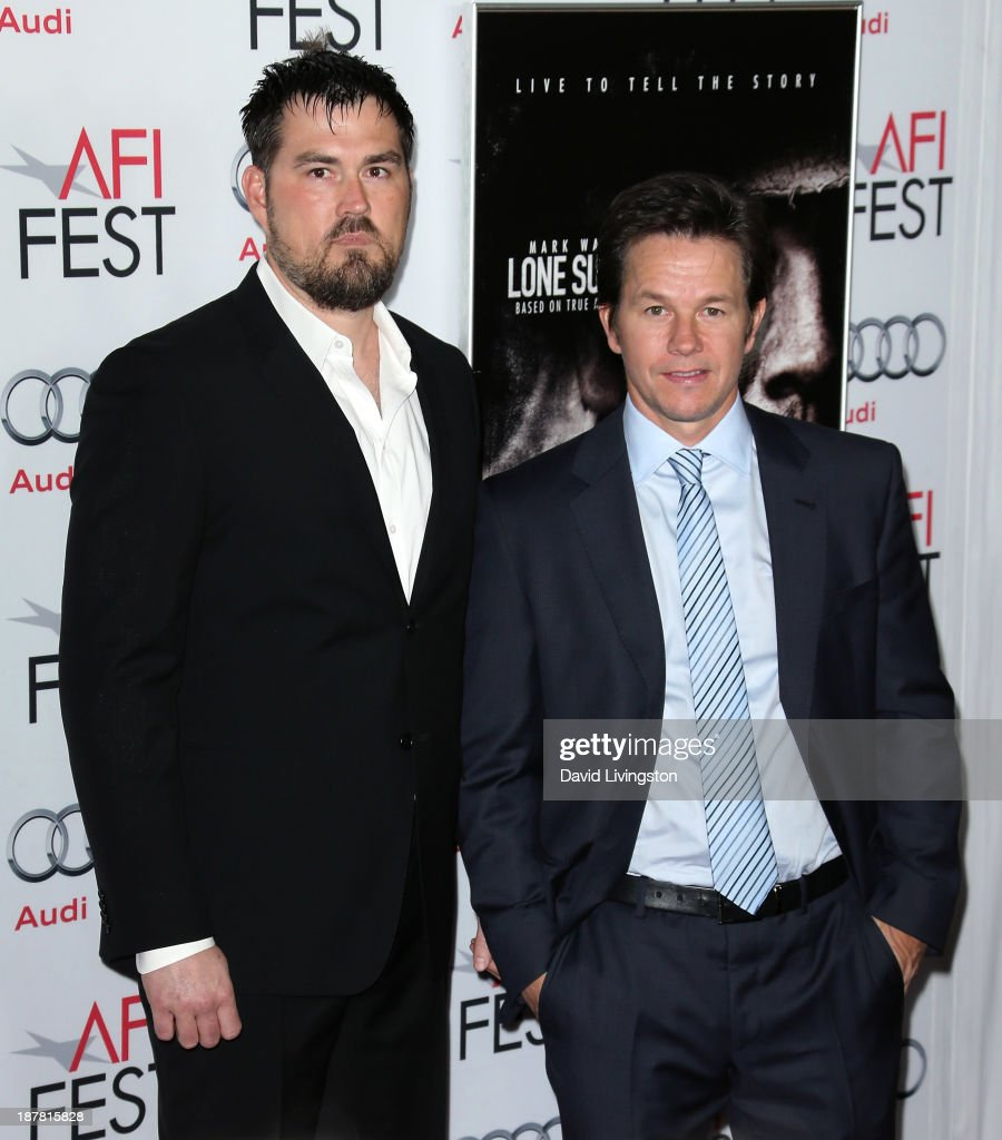 Retired Petty Officer 1st Class Navy SEAL Marcus Luttrell (L) and actor <a gi-track='captionPersonalityLinkClicked' href=/galleries/search?phrase=Mark+Wahlberg&family=editorial&specificpeople=202265 ng-click='$event.stopPropagation()'>Mark Wahlberg</a> attend the AFI FEST 2013 presented by Audi premiere of 'Lone Survivor' at the TCL Chinese Theatre on November 12, 2013 in Hollywood, California.