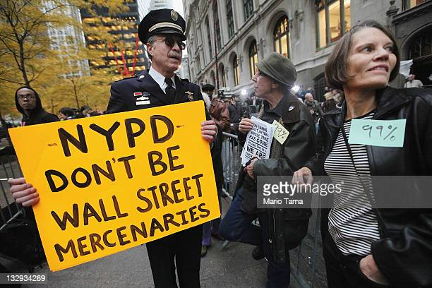 Retired Philadelphia Police Department Captain Ray Lewis stands outside Zuccotti Park after police removed the Occupy Wall Street protesters from the...