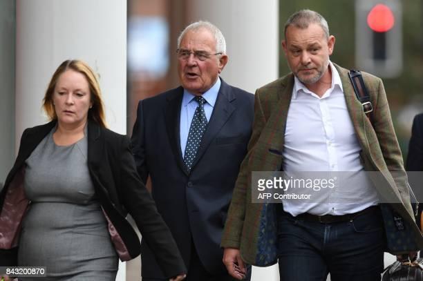 Retired police officer Donald Denton arrives at court in Preston on September 6 2017 Five men charged over the 1989 Hillsborough football stadium...
