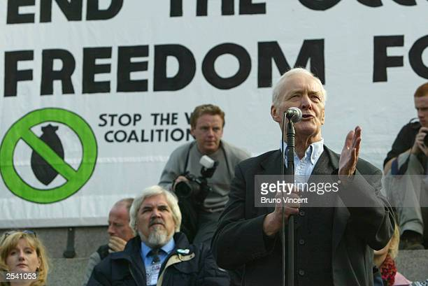 Retired politician Tony Benn gestures as he speaks to protesters participating in the Antiwar Coalition march September 27 2003 in London England...