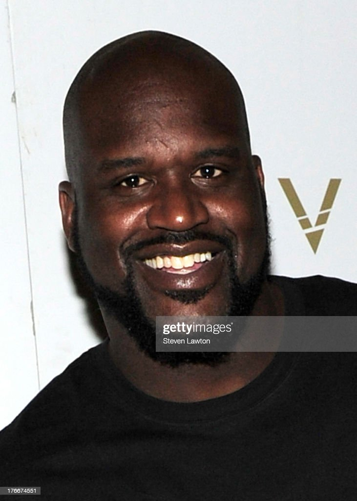 Retired pro basketball player <a gi-track='captionPersonalityLinkClicked' href=/galleries/search?phrase=Shaquille+O%27Neal&family=editorial&specificpeople=201463 ng-click='$event.stopPropagation()'>Shaquille O'Neal</a> arrives at the Lavo Restaurant & Nightclub at The Palazzo Las Vegas on August 16, 2013 in Las Vegas, Nevada.