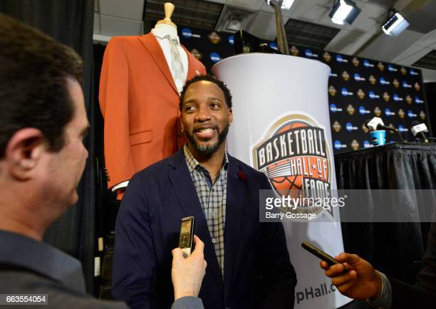 Retired professional basketball player Tracy McGrady is interviewed at the Basketball Hall of Fame Class of 2017 Media Event on April 1 at Westgate...