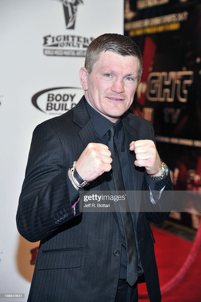 Retired professional boxer Ricky Hatton arrives at the Fighters Only World Mixed Martial Arts Awards at the Hard Rock Hotel & Casino on January 11, 2013 in Las Vegas, Nevada.