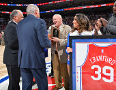 Retired referee Joey Crawford accepts an award prior to the Philadelphia 76ers against Milwaukee Bucks the at Wells Fargo Center on April 10 2016 in...
