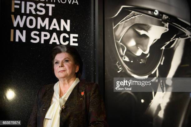 Retired Russian cosmonaut Valentina Tereshkova poses for photographs ahead of an event at the Science Museum on March 15 2017 in London England In...