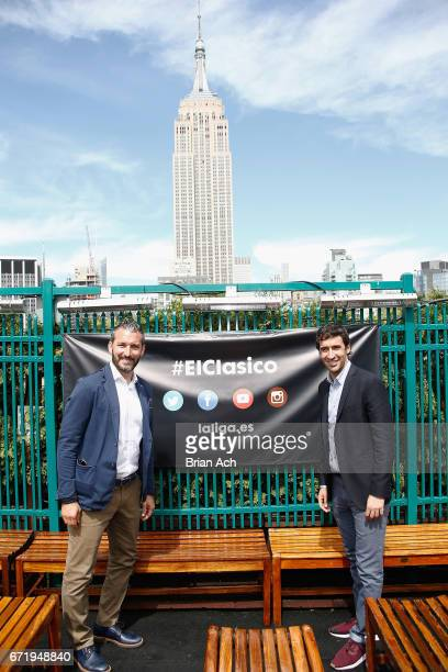 Retired soccer players Gianluca Zambrotta and Raul Gonzalez attend a roofop viewing party of El Clasico Real Madrid CF vs FC Barcelona hosted by...