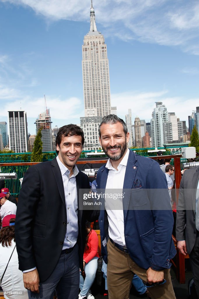 Retired soccer players Raul Gonzalez (L) and Gianluca Zambrotta attend a roofop viewing party of El Clasico - Real Madrid CF vs FC Barcelona hosted by LaLiga at 230 Fifth Avenue on April 23, 2017 in New York City.