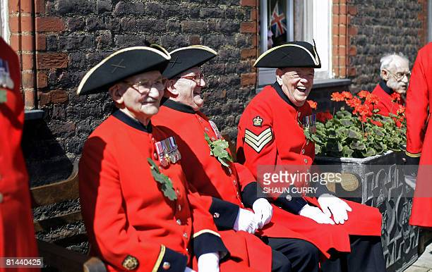 Retired soldiers known as 'The Chelsea Pensioners' attend Founder's Day at the Royal Hospital Chelsea in London on June 5 2008 The Royal Hospital...