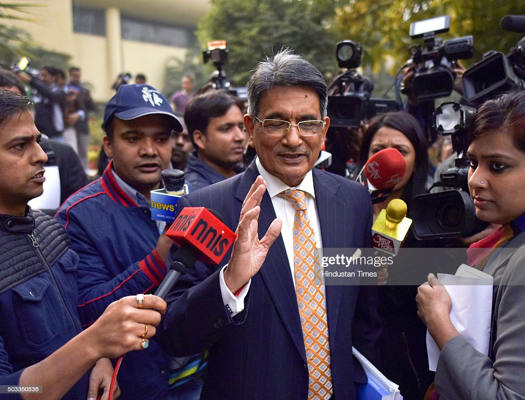Retired Supreme Court Chief Justice Rajendra Mal Lodha talking to media after the press conference at Teen Murti Auditorium on January 4 2016 in New...