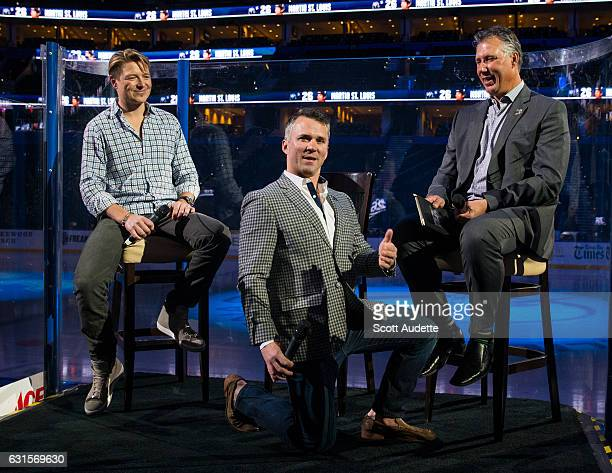 Retired Tampa Bay Lightning player Martin St Louis poses with former teammates Ruslan Fedotenko and Dave Andreychuk during a QA session the day...