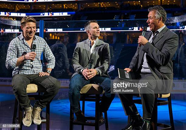 Retired Tampa Bay Lightning player Martin St Louis speaks with former teammates Ruslan Fedotenko and Dave Andreychuk during a QA session the day...