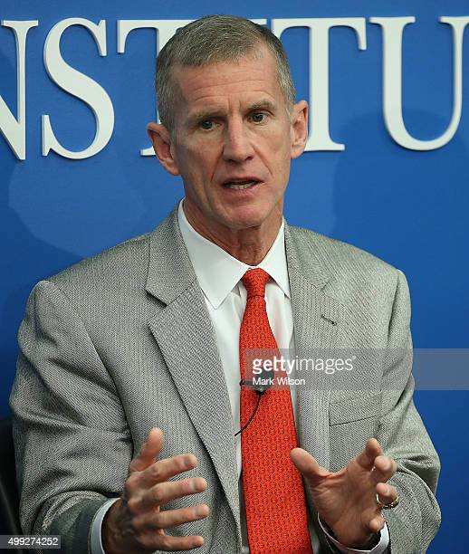 Retired United States Army Gen Stanley McChrystal chairman of the Franklin Project and cofounder of McChrystal Group speaks during a discussion at...