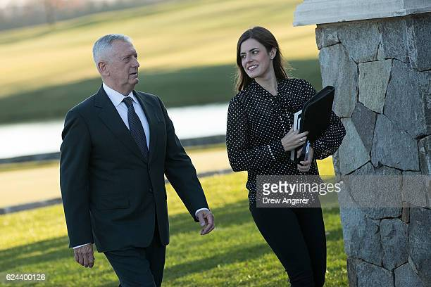 Retired United States Marine Corps general James Mattis arrives at Trump International Golf Club November 19 2016 in Bedminster Township New Jersey...