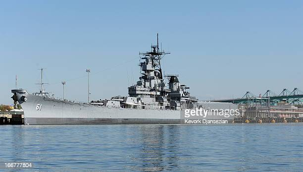 Retired US Navy battleship USS Iowa the only floating museum on the West Coast opened to the public is docked in the Port of Los Angeles on April 16...