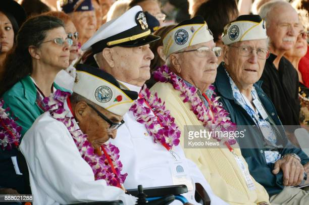Retired US servicemen attend a ceremony in Hawaii on Dec 7 2017 to commemorate the victims of the 1941 Japanese attack on Pearl Harbor on its 76th...