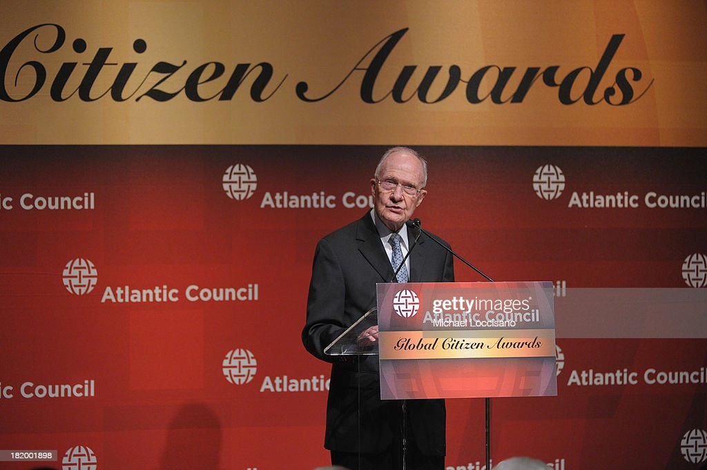 Retired USAF Lt. Gen. <a gi-track='captionPersonalityLinkClicked' href=/galleries/search?phrase=Brent+Scowcroft&family=editorial&specificpeople=202236 ng-click='$event.stopPropagation()'>Brent Scowcroft</a> addresses the audience during the 2013 Global Citizen Awards Ceremony on September 26, 2013 in New York City.