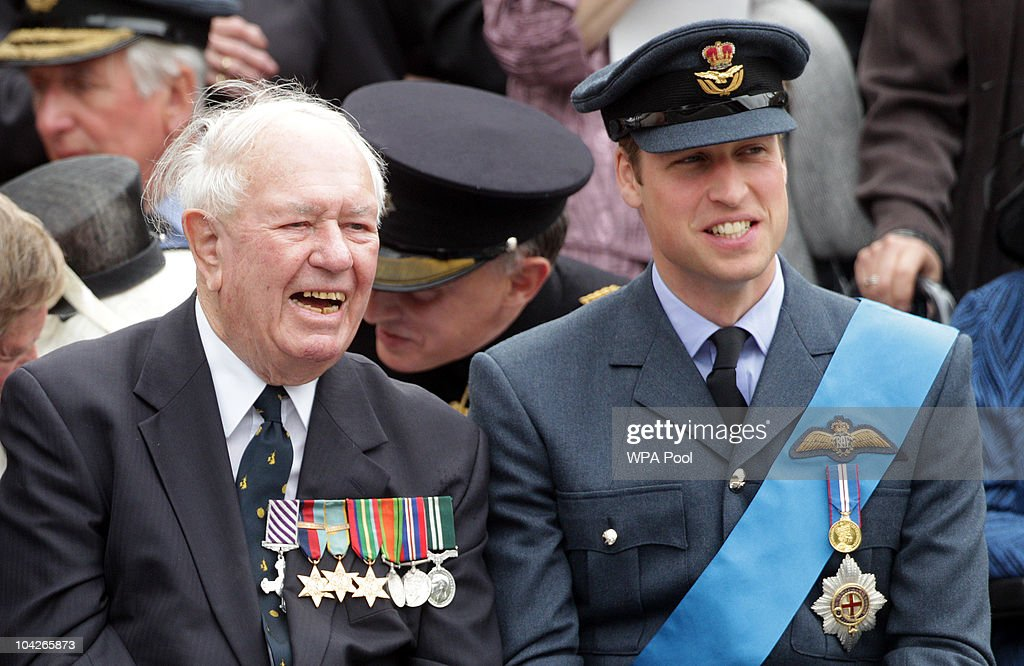 Retired Wing Commander Bob Foster laughs with <a gi-track='captionPersonalityLinkClicked' href=/galleries/search?phrase=Prince+William&family=editorial&specificpeople=178205 ng-click='$event.stopPropagation()'>Prince William</a> during the parade for the National Commemorative Service for the 70th Anniversary of the Battle of Britain at Westminster Abbey on September 19, 2010 in London, England.