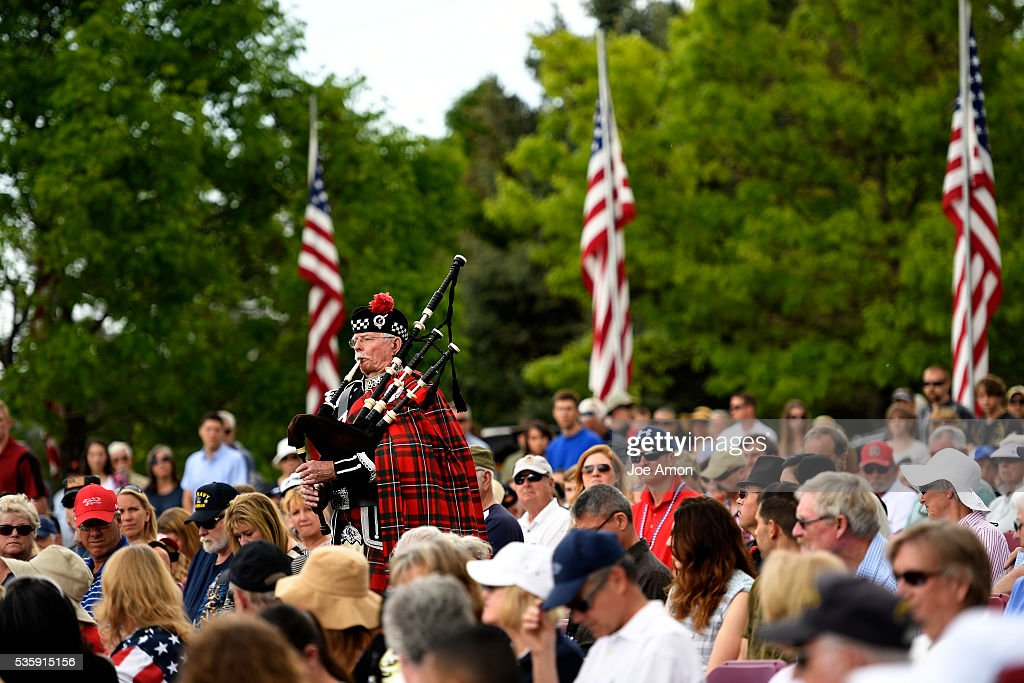 Retiree MGygt Ken Giese USMC served in Korea in 1951 and 52 playing the bagpipes during the wreath remembrance ceremony at the Memorial Day ceremony, 84th Anniversary of Remembrance at Fort Logan National Cemetery. May 30, 2016 in Denver, CO.