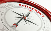 Arrow of a compass is pointing retirement  text on the compass. Arrow , retirement text and the frame of compass are  red in color.  White background. Horizontal composition with copy space. Retiremen