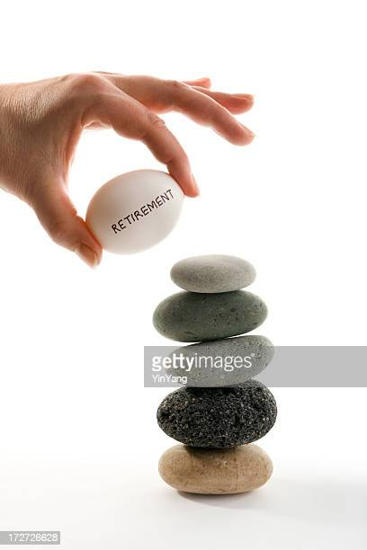 Rente Investitionen finanziellen Planung, Hand Holding Nest Egg
