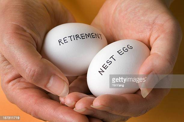 Retirement Savings Nest Egg Investments Securely Held in Woman's Hands