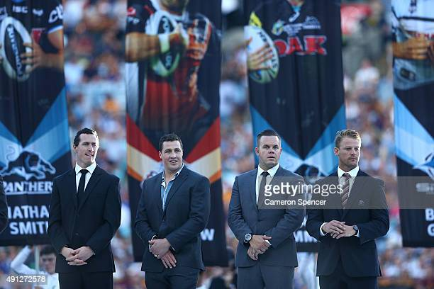 Retiring and departing NRL players pose during the 2015 NRL Grand Final match between the Brisbane Broncos and the North Queensland Cowboys at ANZ...