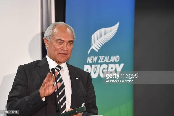 Retiring Board Member Peter Goldsmith speaks during the New Zealand Maori Rugby Board AGM at New Zealand Rugby House on April 26 2017 in Wellington...