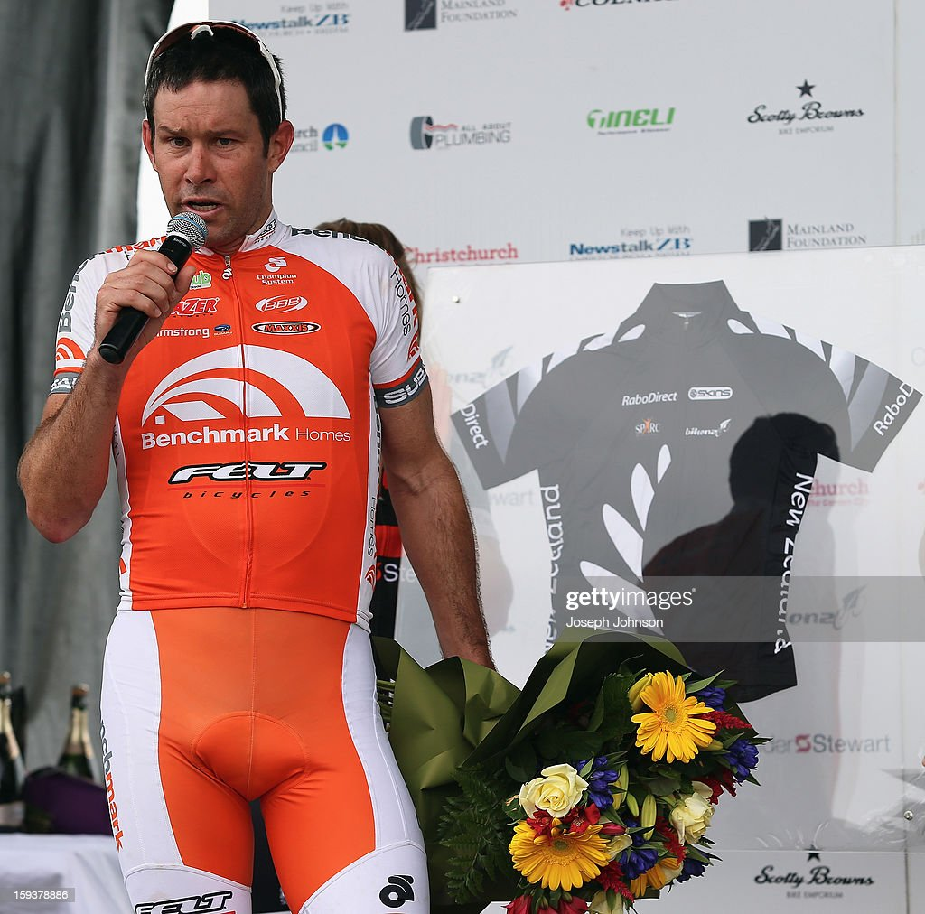 Retiring cyclist <a gi-track='captionPersonalityLinkClicked' href=/galleries/search?phrase=Julian+Dean&family=editorial&specificpeople=747782 ng-click='$event.stopPropagation()'>Julian Dean</a> is presented with a jersey following his last race in the Elite Men's Road Race during the New Zealand Road Cycling Championships at Pioneer Stadium on January 13, 2013 in Christchurch, New Zealand.