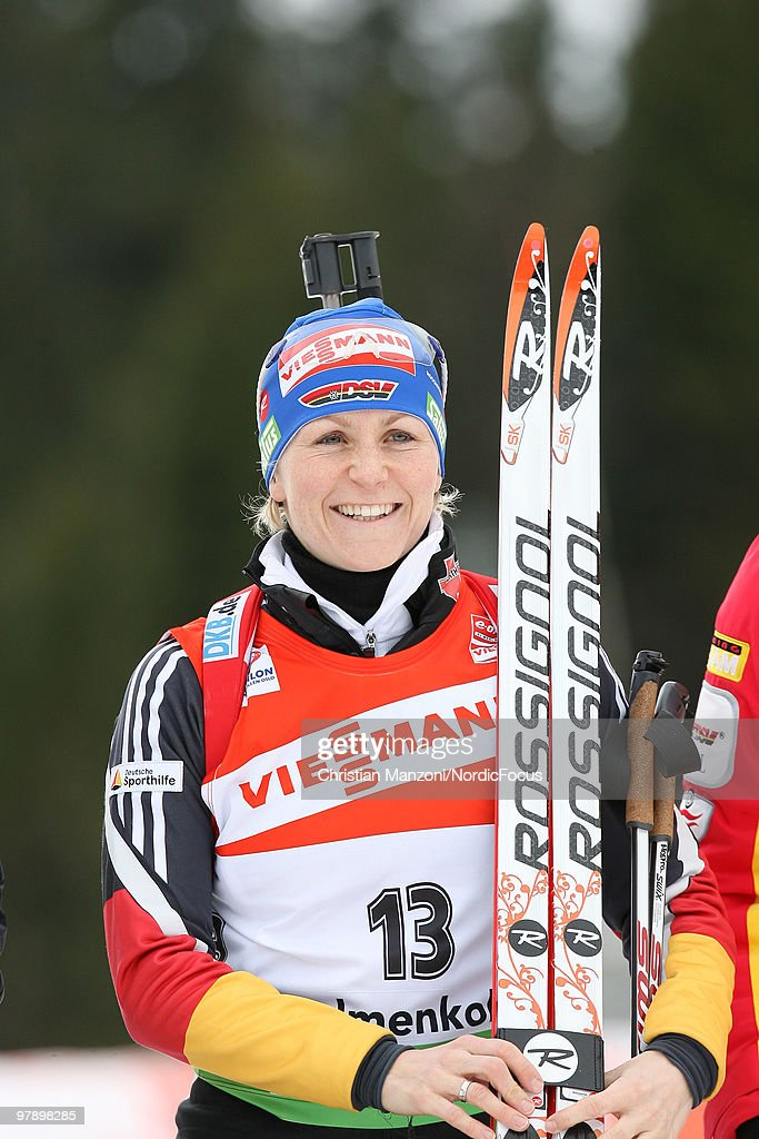 Retiring <a gi-track='captionPersonalityLinkClicked' href=/galleries/search?phrase=Martina+Beck&family=editorial&specificpeople=5543827 ng-click='$event.stopPropagation()'>Martina Beck</a> of Germany smiles after the women's pursuit in the E.On Ruhrgas IBU Biathlon World Cup on March 20, 2010 in Oslo, Norway.