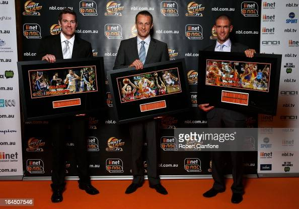 Retiring players Dillon Boucher Glen Saville and Nathan Croswell pose during the 2013 Basketball Australia MVP Awards at Crown Palladium on March 24...