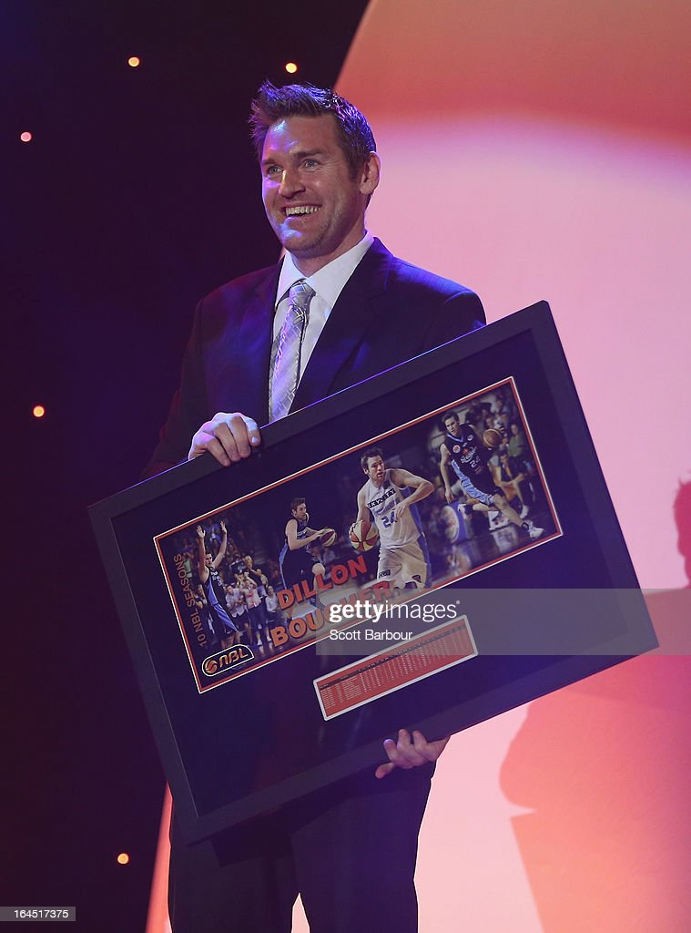 Retiring players Dillon Boucher poses on stage during the 2013 Basketball Australia MVP Awards at Crown Palladium on March 24 2013 in Melbourne...