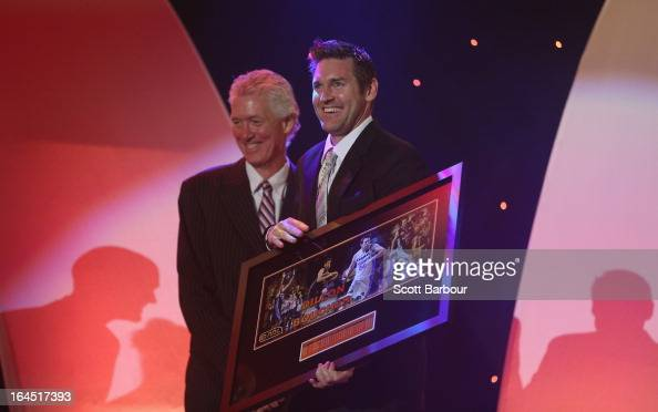 Retiring players Dillon Boucher poses with Chuck Harmison on stage during the 2013 Basketball Australia MVP Awards at Crown Palladium on March 24...