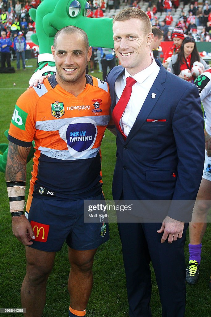 Retiring players Jeremy Smith of the Knights and Ben Creagh of the Dragons pose after the the round 26 NRL match between the St George Illawarra Dragons and the Newcastle Knights at WIN Jubilee Stadium on September 3, 2016 in Sydney, Australia.