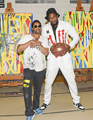Retna and Amar'e Stoudemire attend Amare Stoudemir'e And Melech Collection Present 'In the Paint' Series With Retna At Pan Pacific Park at North Gym...
