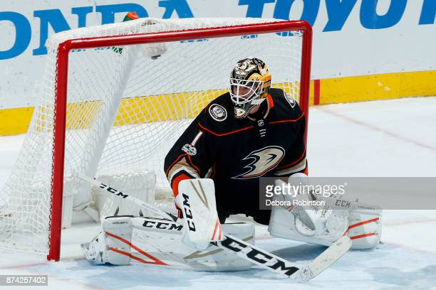 Reto Berra of the Anaheim Ducks holds the crease during the game against the Vancouver Canucks on November 9 2017 at Honda Center in Anaheim...