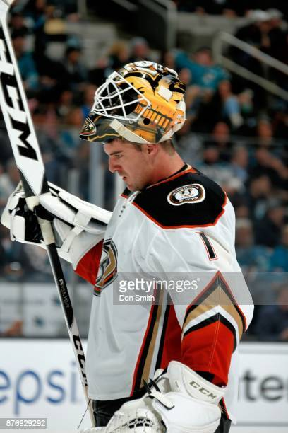 Reto Berra of the Anaheim Ducks looks on during a NHL game against the San Jose Sharks at SAP Center on November 20 2017 in San Jose California