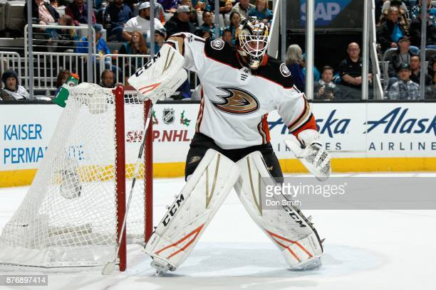 Reto Berra of the Anaheim Ducks protects the net during a NHL game against the San Jose Sharks at SAP Center on November 20 2017 in San Jose...