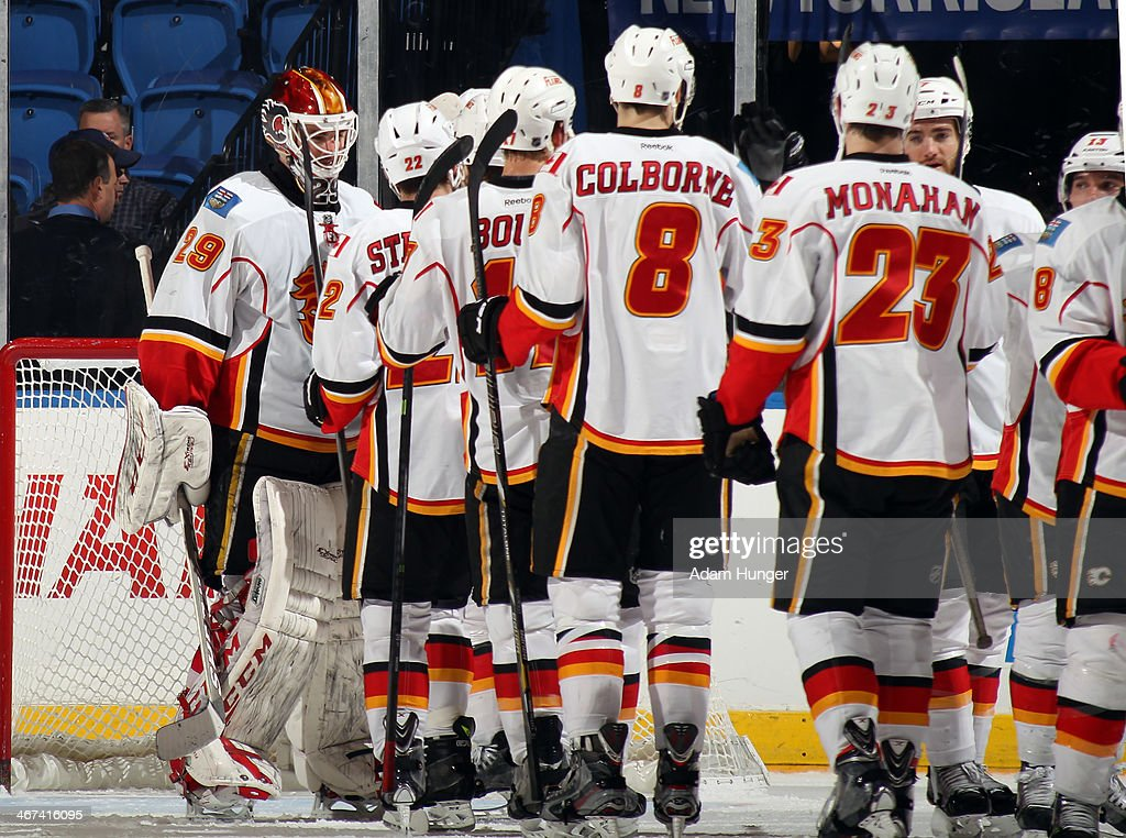 <a gi-track='captionPersonalityLinkClicked' href=/galleries/search?phrase=Reto+Berra&family=editorial&specificpeople=570422 ng-click='$event.stopPropagation()'>Reto Berra</a> #29 of the Calgary Flames is congratulated by teammates after defeating the New York Islanders during the third period at Nassau Coliseum on February 6, 2014 in Uniondale, New York. The Flames defeated the Islanders 4-2.