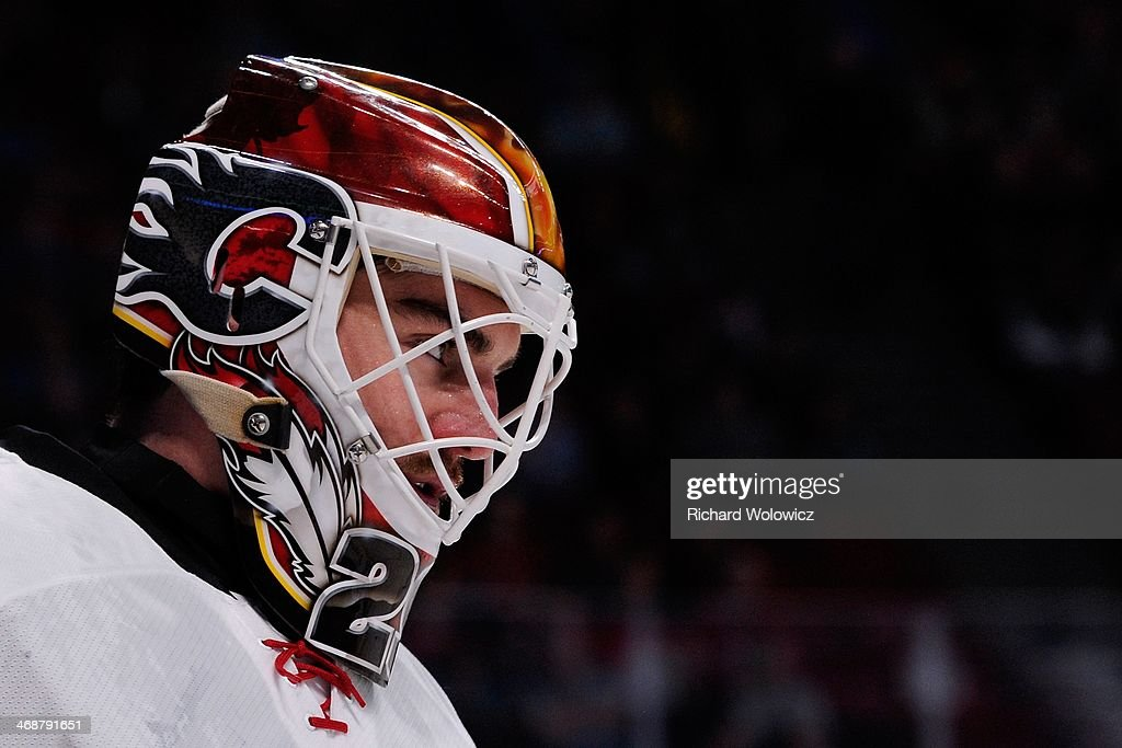 Reto Berra of the Calgary Flames skates during the NHL game against the Montreal Canadiens at the Bell Centre on February 4 2014 in Montreal Quebec...