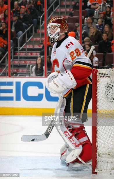 Reto Berra of the Calgary Flames tends goal against the Philadelphia Flyers on February 8 2014 at the Wells Fargo Center in Philadelphia Pennsylvania