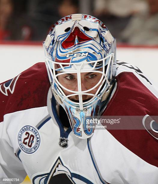 Reto Berra of the Colorado Avalanche skates against the New Jersey Devils at the Prudential Center on December 1 2015 in Newark New Jersey